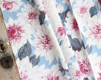 30s 40s Coastal Beach Cottage Blue Floral Pattern Vintage Barkcloth Fabric Drapery Panel