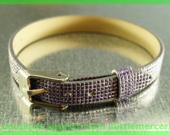 Leather Bracelet checkered N4 low glitter Pearl width 8 mm
