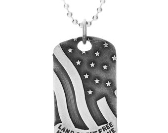 Memorial Day Jewelry - Silver Dog Tag Necklace Engraved with American Flag and Hand Stamped Land of the Free Home of the Brave Custom Tag