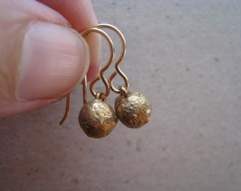 Organic Drop Bronze Earrings - Small Ball Earrings - Drop Earrings - Small Earrings