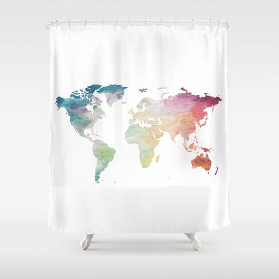 World Map Shower Curtain Rainbow Shower Curtain Globe Bath