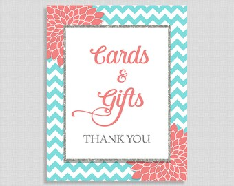 Cards & Gifts Shower Table Sign, Aqua and Coral Mums, Bridal, Baby Shower Gift Table Sign,  INSTANT PRINTABLE