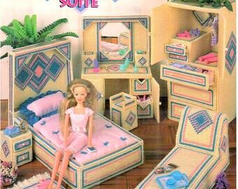 Plastic Canvas Fashion Doll Contemporary Diamonds Water Bed Suite furniture pattern fits Barbie, designer Nanette Seale Annie's Attic 879006