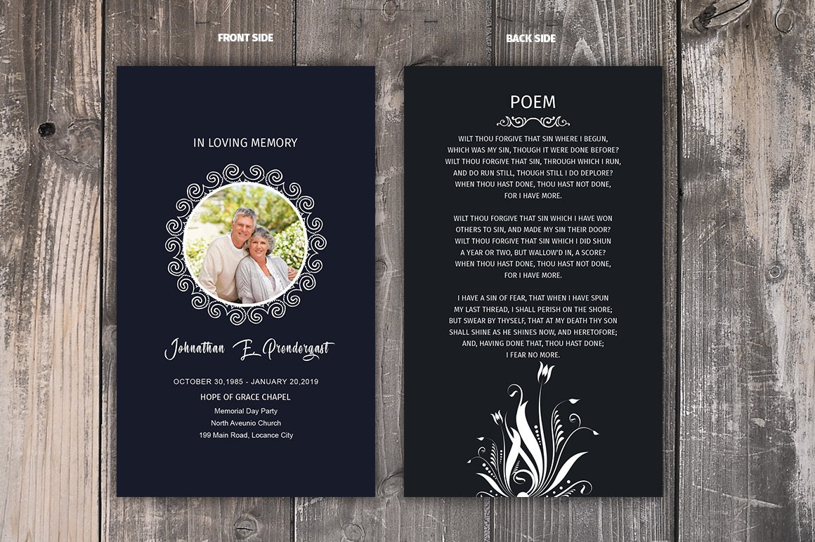 Funeral Prayer Card Template Editable Ms Word Photoshop