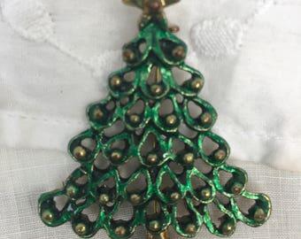Christmas Tree  Pin / Brooch~ Green Red MERRY CHRISTMAS
