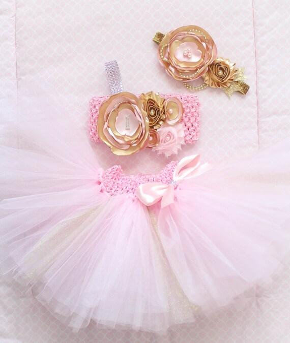 Hermosa torta oro rosa Smash traje Tutu conjunto 3 piezas para