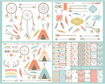 Tribal Clipart Bundle - American Indian, feathers, boho, tribal arrows, vector graphics, digital clip art, digital images, commercial use