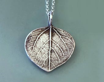 Aspen Leaf Necklace or Pendant in Sterling Silver Free Shipping, Gardening Gift