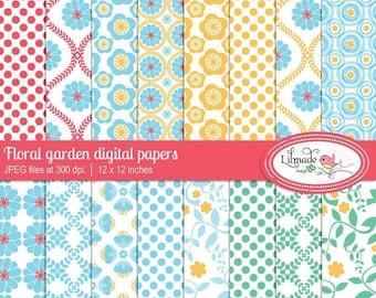 50%OFF Floral digital paper, floral scrapbook paper, floral patterned paper, floral backgrounds, commercial use paper, P190