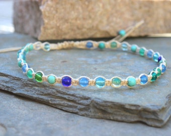 Adjustable Macrame Anklet, Hemp Anklet, Surfer Jewelry, Metal Free, Beaded Anklet, Beaded Macrame, Ocean Anklet, Mixed Stone Macrame