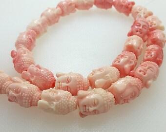 15 mm   Dubble Sided Buddha Bead , Coral Buddha Beads pcs , Meditation Beads  ,Buddha Jewelry, Yoga Jewelry