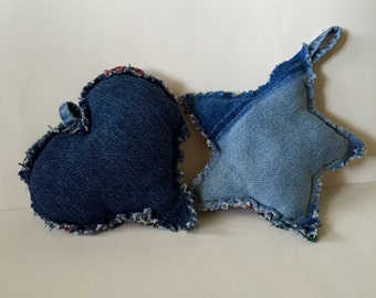 Recycled Blue Jean Christmas Tree Ornaments