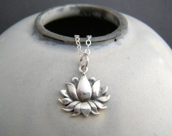 sterling silver lotus flower necklace. small realistic floral charm. yoga yogi jewelry simple layering petite delicate dainty pendant 5/8""