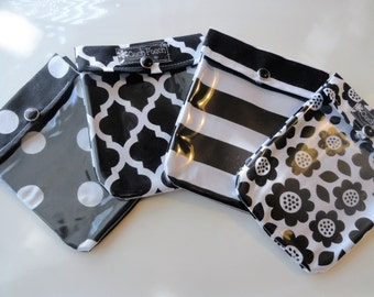 Black & White Ouch Pouch (4 pack) 4x5 Clear Front Bags Purse Inserts Organizers First Aid Make Up LipSense Baby Supplies Gifts Under 6