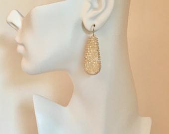 Mother of pearl silver hoop statement earrings