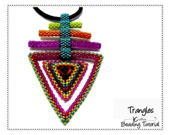 Peyote Stitch Triangle Pendant Beading Pattern Seed Bead Jewelry Instructions beaded Triangle Frames Pendant and Earrings Tutorial  TRANGLES