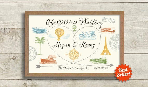 Travel couple wedding gift idea destination world map like this item gumiabroncs Image collections