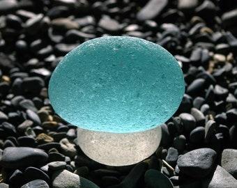 Genuine Aqua Teal Sea Glass Boulder With The Stand!