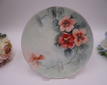 1930s Vintage Hand Painted and Artist Signed Austrian Poppy Flower Plate - Charming