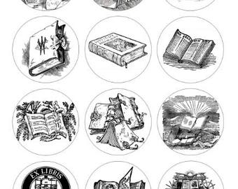 Books Printable 1-Inch Circles / Bottlecap Images / Vintage Black and White Book Engravings, Woodcuts, Lithographs / Digital Collage