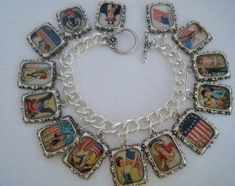 Charm Bracelet Vintage Patriotic July 4th Altered Art