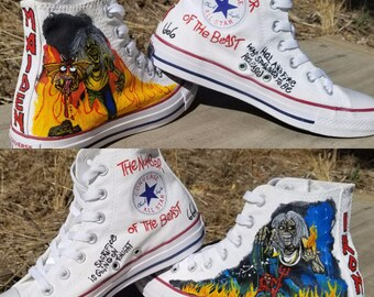 Iron Maiden Number of the Beast Painted Sneakers