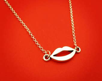 Silver Smooches, Lips Necklace, Kiss My Grits, XOXO, Kiss Me, Love Yourself, Boss Lady, Valentines Jewelry, Modern Jewelry, Silver Lips