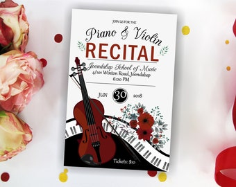 Vintage Piano and Violin Recital Invitation. Piano and Violin Music Performance Invite. Music party. Concert Invitation. Printable Digital