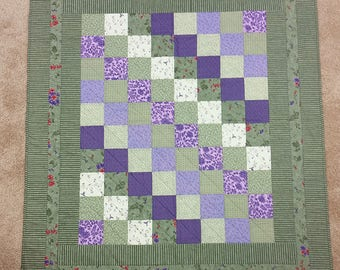 Baby Shower Gift Cute Purples and Greens Baby Quilt