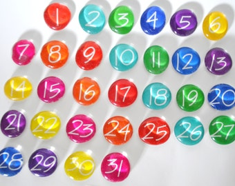 LARGE - 31 number magnets or push pin calendar set, 2018 perpetual calendar, school teacher, you choose your own colors
