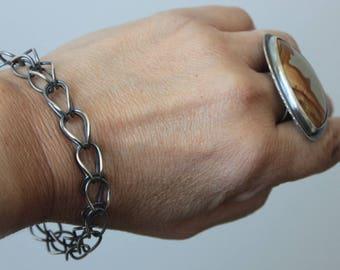 Silver Link Bracelet, Handmade Chain Bracelet, Sterling Silver Bracelet, Le Chien Noir, Unisex Bracelet