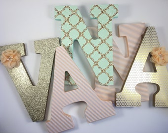 nursery letters, nursery letters girl, baby letters, letters for baby room, nursery wall letters, wooden letters, peach and mint letters
