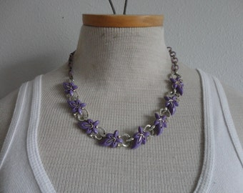 VINTAGE purple thermoset LEAF link NECKLACE - missing one rhinestone