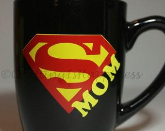 Super Mom Black Ceramic Coffee Mug Mother's Day Birthday