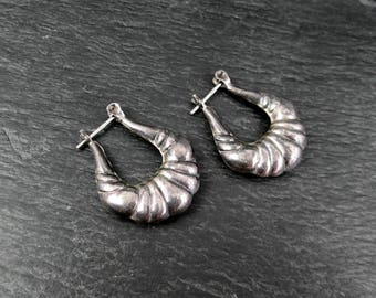 Sterling Silver Hoop Earrings | 1980s Vintage Work Earrings