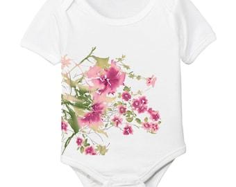 Organic Cotton Wildflowers Cherry Blossom Floral Garden Onesie Bodysuit
