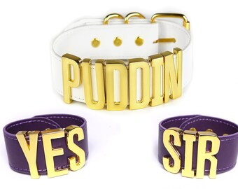 Harley Quinn PUDDIN Choker + YES SIR Cuffs Replica | Cosplay | Suicide Squad Movie | Halloween | Harley Quinn Choker |Big Letters - Gold