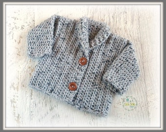 Light Grey Chunky Hand Crocheted Baby Cardigan 3-6 months