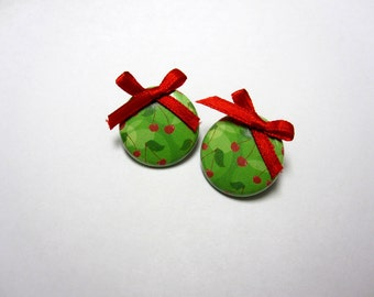 Cherry Earrings Red Bow Post Green