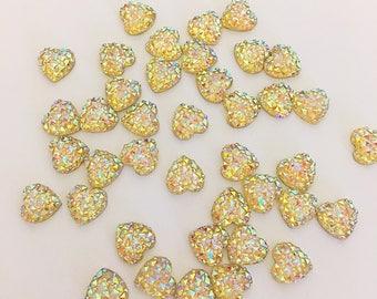 heart cabochon, heart flatback, jewel hearts, hairclip supplies, scrapbooking, cell phone embellishment, resin flatbacks, resin cabochons,