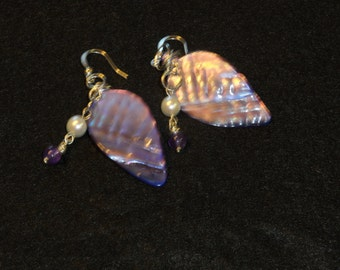 Abalone Earrings with Pearl