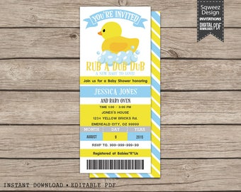 Rubber Ducky Invitations, Baby Duck Party, Rubber Duck Invitation, Birthday Invitation, Duckling Party - Instant Download Editable PDF