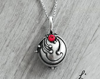 The Vampire Diaries Elena Gilbert Inspired Locket Necklace Swarovski Red and REAL VERVAIN silver plated season 1 2 3 Delena Stelena Pendant