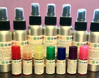 Chakra Starter Sets -  Mists and Roll-ons / Mind Body and Spirit / Chakra Balance Oils /Energy Healing Spray