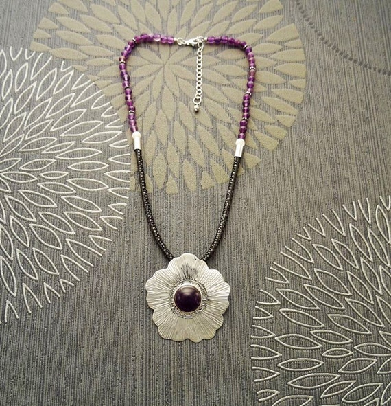 Amethyst Bib Necklace, with a Sterling Silver & Amethyst Pendant, Hibiscus Flower Design, Leather Torque, Boho Necklace