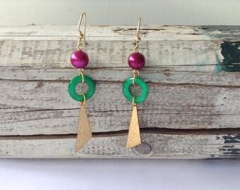 Burgundy and Green Drop Earrings