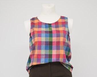 vintage rainbow check Large size cotton tank top round neck sleeveless shirt