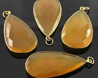 2 Inches Long, Yellow Chalcedony, Bezel  Pear Shape Component, Gold Vermeil   25x45mm, 1 Piece, (BZC7332)