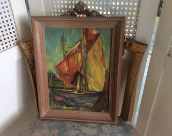 Vintage Mid Century Oil Painting, Sailboat, Impressionism,Wood frame, Signed, Colorful, Exc.