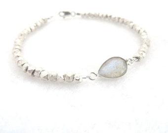 Karen Hill Tribe Silver Bracelet Labradorite Bracelet Silver Nuggets Minimalist Bracelet  Gemstone Bracelet Feminine Bracelet Mothers Day